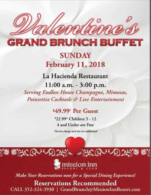 Mission Inn Valentines buffet menu