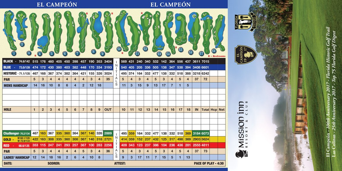 score card el campeon golf couse