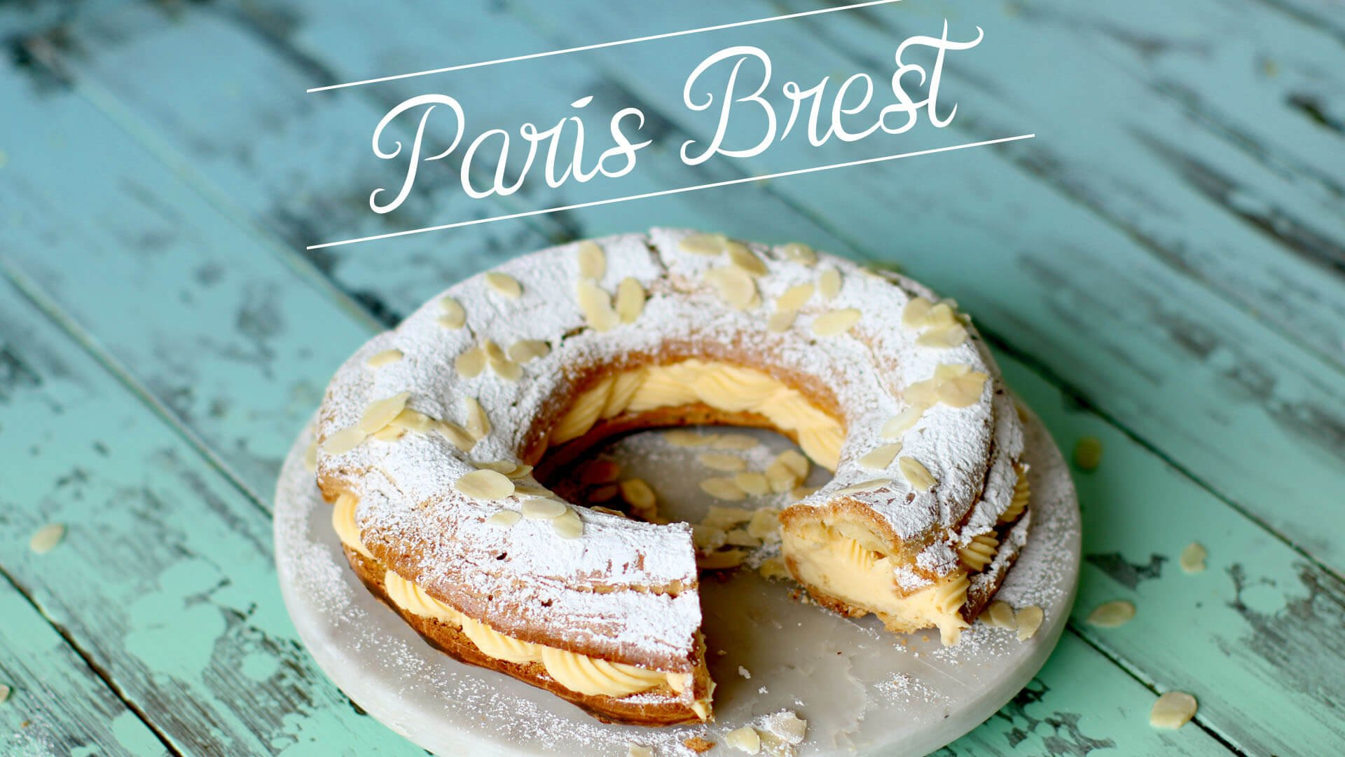Picture of desert paris brest with green wood backdrop