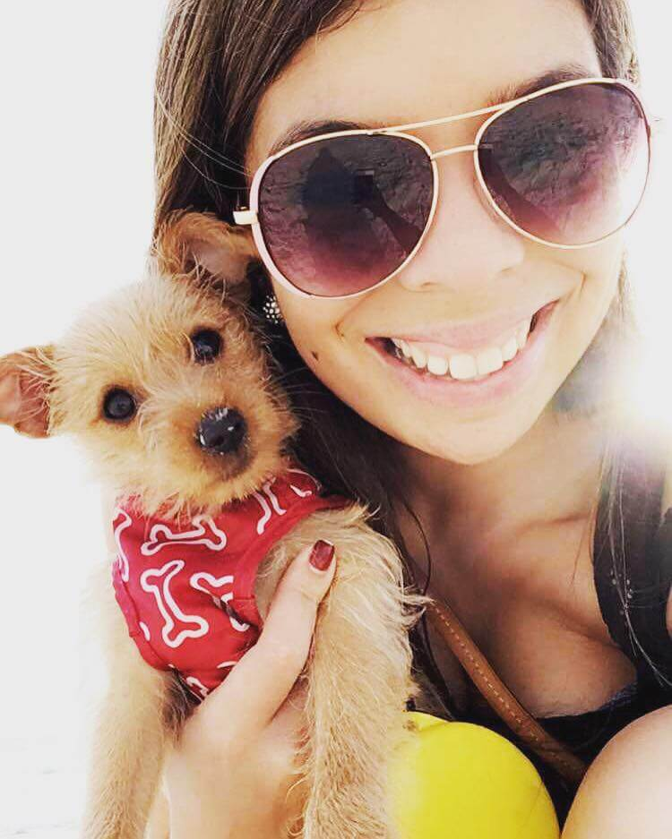 Girl in sunglasses holding a puppy